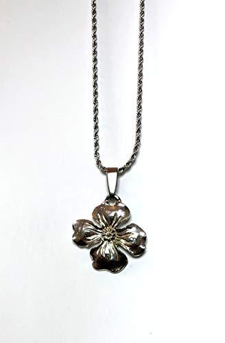 Dogwood Flower Charm - 679P Dogwood Flower Pendant Charm Necklace Pewter
