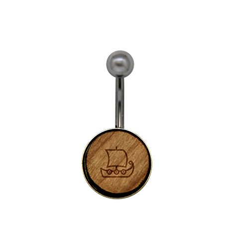 Viking Ship Surgical Stainless Steel Belly Button Rings - Size 14 Gauge Wooden Navel Ring - Rustic Wood Navel Ring with Laser Engraved Design (Ring Belly Viking Button)