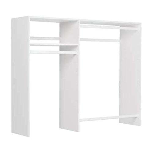 Easy Track Hanging Closet Wardrobe Storage Clothing Organizer Rod Rack System Kit for Bedroom, White