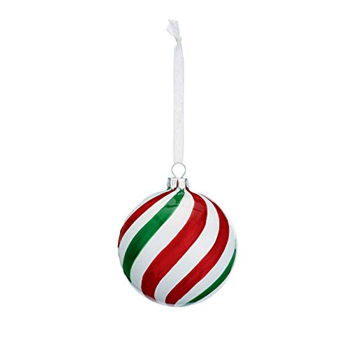 DEMDACO Red & Green Peppermint Striped 3 Inch Glass Hanging Christmas Ball Ornament