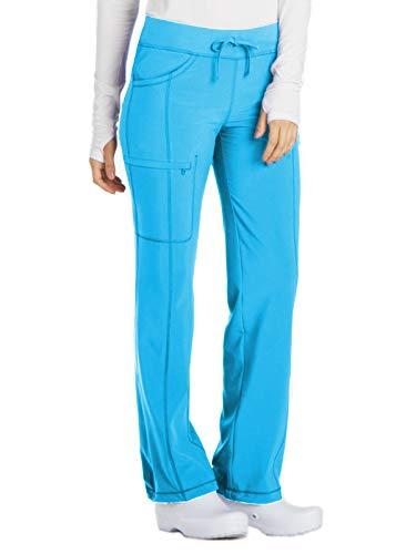 Drawstring Waistband Elastic Polyester (Cherokee Women's Infinity Low Rise Straight Leg Drawstring Pant, Turquoise, Medium Tall)