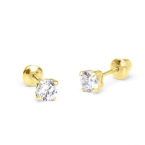 14k Yellow Gold 4mm Basket Round Solitaire Cubic Zirconia Children Screw Back Baby Girls Earrings (Baby Gold Stud)