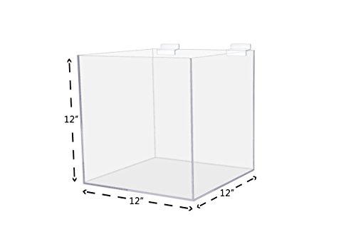 12 Acrylic Slatwall Box Lot of 6 Bin 5 Sided Clear Acrylic Display Box