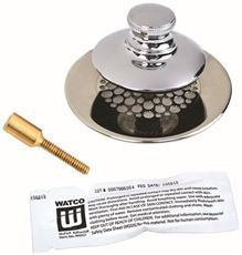 WATCO MANUFACTURING 48750-PP-CP-G-51 3554110 Silicone Universal Nufit Tub Closure Push/Pull with Grid Strainer with Brass Pin