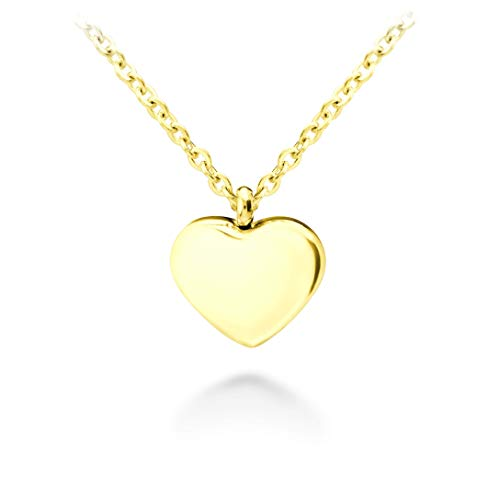 555Jewelry Womens Stainless Steel Love Cute Heart Shape Small Dainty Delicate Cable Chain Charm Shiny Gift Vintage Fashion Girls Jewelry Accessory Hanging Pendant Necklace, Yellow Gold 18 ()