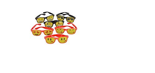 (12) EMOJI Mesh Sunglasses ~Emoticon Party Favors ~Prize Carnival ~ Secret Santa ~ Giveaway ~ Birthday Goody Bag Fillers ~ Toy by - Sunglasses Emoji Text