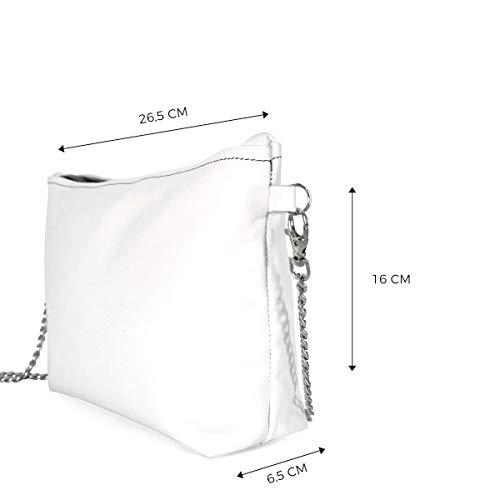 Colorart Bag Pelle Borsa In Bianca Alviero Rodriguez Fumo Diva Colori Argento Donna Vera Catena Fw4qFYIP