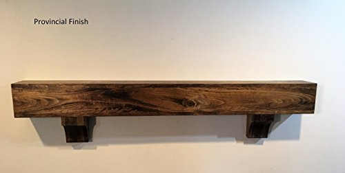 Rustic Wood Beam Floating Shelf Fireplace Mantel Mantle with Corbels -