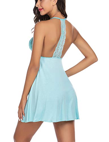 ADOME Womens Slip Lingerie Halter Strap Chemise Sexy Nightgown Light Blue