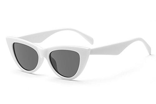 UV Protection Cat Eye Sunglasses,Mirrored Flat Lens Women Fashion Glasses (95127 - white frame -black lens)