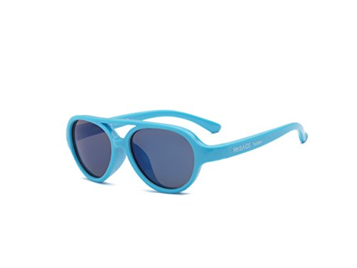Real Kids Shades Sky Aviator Sunglasses for Toddler, Kid, Youth - 100% UVA UVB Protection, Polycarbonate Mirror Lenses, Unbreakable, Flex Fit, Iconic Style (Youth 7+, Neon Blue)