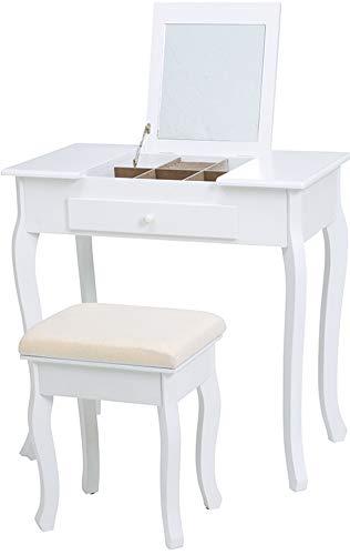 ドレッサー 鏡台 化粧台 メイク台 1面鏡 収納 スツール セット デスク PCデスク 2WAY コンパクト 猫脚 おしゃれ ホワイト 北欧 アンティーク カントリー フェミニン 1人暮らし ワンルーム B07NMXYCV1