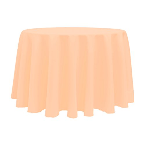 Ultimate Textile (10 Pack) 132-Inch Round Polyester Linen Tablecloth - for Wedding, Restaurant or Banquet use, Peach (Polyester Tablecloth Peach)