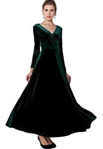 Urban CoCo Women Long Sleeve V-Neck Velvet Stretchy Long Dress (Large, Green)
