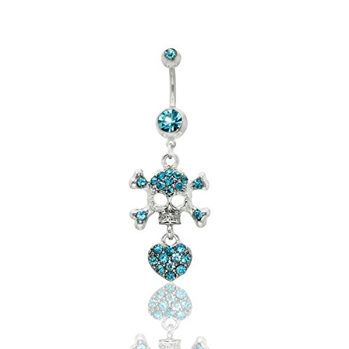 Skull & Crossbones With Jeweled Heart Dangle Surgical Steel Belly Button Ring 14G 3/8 bar length With Cubic Zirconia Stones (Crossbones Ring Belly)