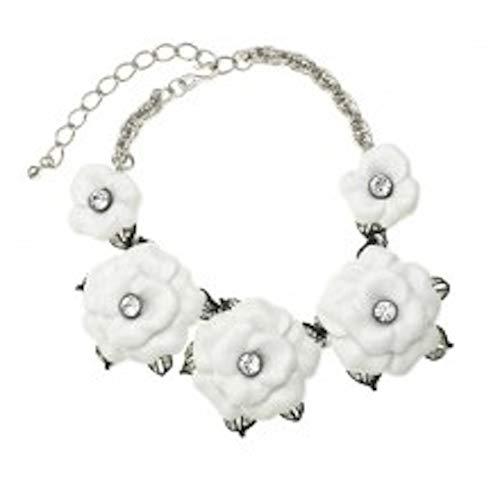 Kenneth Jay Lane, Designer Inspired White 5 Flower Necklace