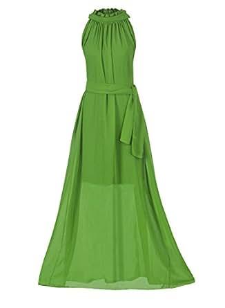 Howriis Women's Army Green Chiffon Sleeveless Long Formal Dress (One Size, Army Green)