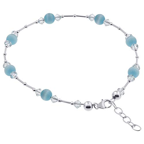 Gem Avenue 925 Sterling Silver Blue Cats Eye Swarovski Elements Crystal 9 to 10.5 inch Adjustable Anklet Ankle Bracelets for Women