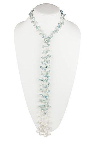 HinsonGayle 'Cordelia' Handwoven 2-Strand Aquamarine & Freshwater Cultured Pearl Lariat Necklace-42 in (Beryl Designer Earrings)