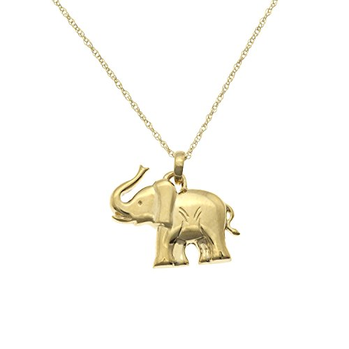 JewelExclusive 10K Yellow Gold Elephant Pendant-Necklace, 18