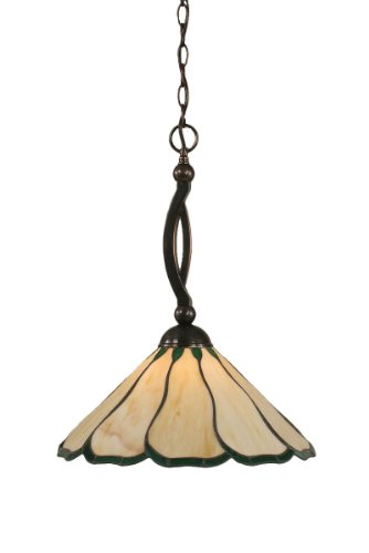 - Toltec Lighting 271-BC-913 Bow One-Light Down light Pendant Black Copper Finish with Hunter Green Flair Tiffany Glass, 16-Inch