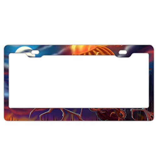 YEX Abstract Happy Halloween Pattern License Plate Frame Novelty Car Tag Frame Auto License Plate Holder 12