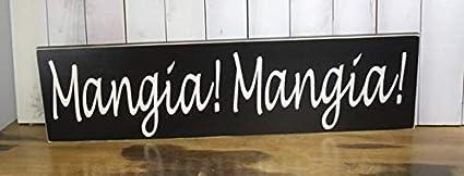 Amazon Com Woodsign Marthafox Mangia Mangia Sign Xxlarge