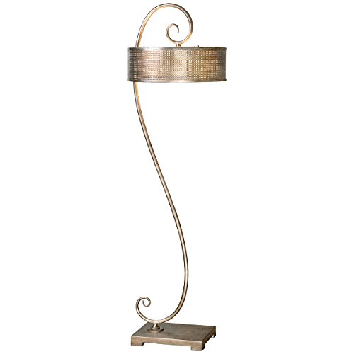 Uttermost 28599 Dalou Scroll Silver Floor Lamp