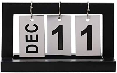 Ruiting Tischkalender Holz Shabby Flip-Kalender Flip-Ring Kalender 2019 Ewiger Kalender Schwarz 1 Stück