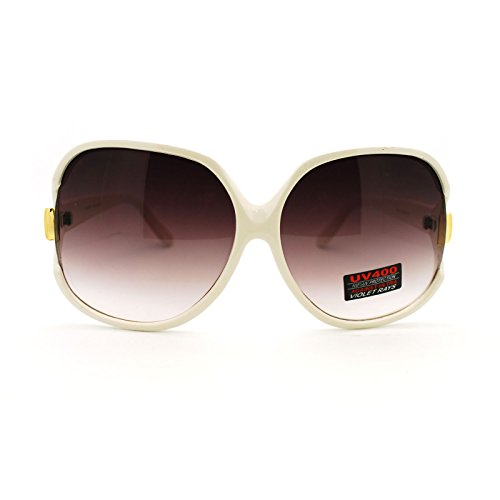 (Womens Extra Oversized Round Designer Fashion Exposed Lens Butterfly Sunglasses White)