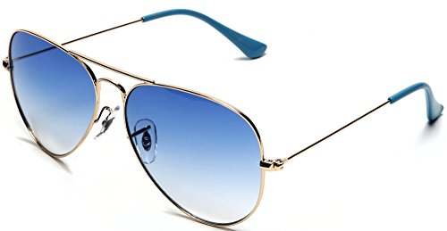 Light Gold Lens (Samba Shades Unisex Classic Aviator Sunglasses Gold Frame Blue Lens - Glen & Ivy Sky Inspired)