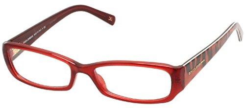 Dolce Gabbana 3085 Womens/Ladies Designer Full-rim Spring Hinges Eyeglasses/Glasses (53-16-135, Transparent Red / Leopard ()