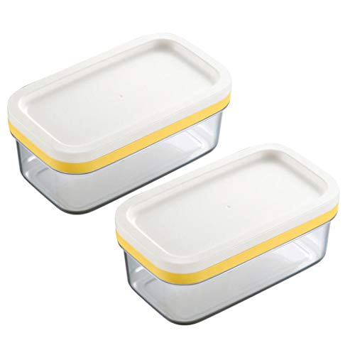 2 Food Cutter - Fityle 2 in 1 Butter Dish Butter Slicer Cutter with Sealed Lid Butter Keeper Cheese Container Food Storage Candy Box Pack 2