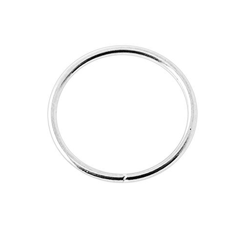 14K White Gold 22 Gauge - 8MM Diameter Seamless Continuous Open Hoop Nose Piercing Ring Jewelry