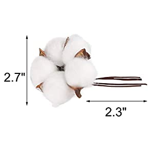 Yoodelife Natural Cotton Bolls Balls Artificial White Cotton Stems Floral Picks for Wreath Home Decor Craft, 10 Pcs 2
