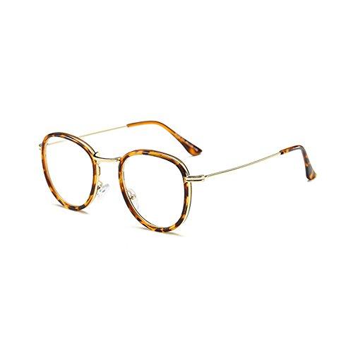 Mode force Cadre verres optiques métal design anti de en lunettes bleus sans Léopard de Inlefen décontracté 6dqR6