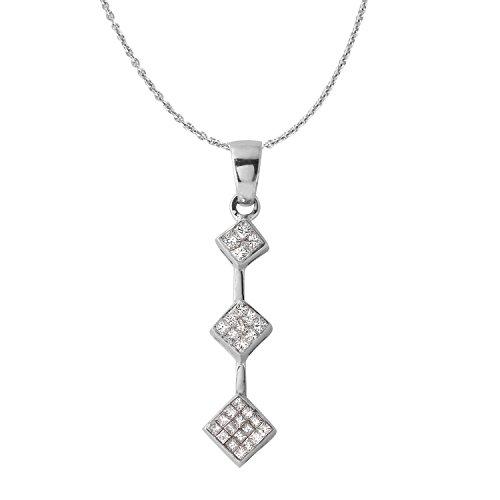 0.5 Carat Natural Diamond 14K White Gold Journey Pendant Necklace for Women
