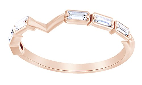 Baguette Cut White Natural Diamond Band Ring In 14K Solid Rose Gold (0.2 Ct),Ring Size-4.5 - 0.2 Ct Baguette
