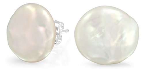 Bridal White Biwa Coin Freshwater Cultured Pearl Stud Earrings For Women 925 Sterling Silver ()