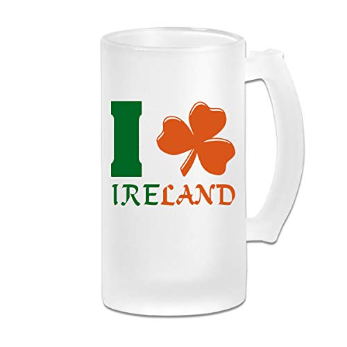 I Love Ireland Shamrock Wine Glasses Cup Tumbler With Handle, 16 OZ / 500 ML Large Pub Beer Glass For Freezer