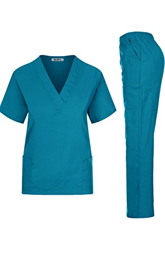MedPro Women's Medical Scrub Set Mock Wrap and Cargo Teal S (GT-766)