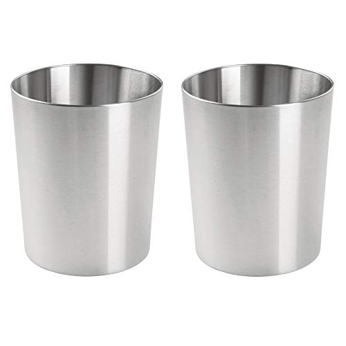 mDesign Round Metal Small Trash Can Wastebasket, Garbage Container Bin for Bathrooms, Powder Rooms, Kitchens, Home Offices - 2 Pack, Durable Stainless Steel - Brushed