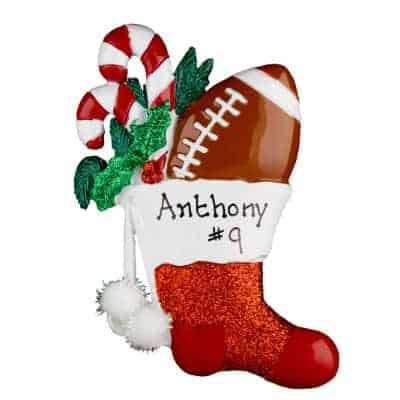 Football Stocking Personalized Ornament - (Unique Christmas Tree Ornament - Classic Decor for A Holiday Party - Custom Decorations for Family Kids Baby Military Sports Or Pets)