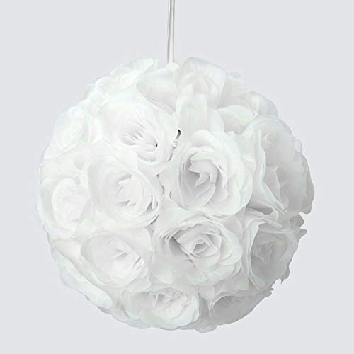 """Simply Elegant 10"""" Round Silk Pomander Rose Kissing Ball with Satin Ribbon for Hanging Wedding Decor and Centerpieces (12 Pieces) (White)"""