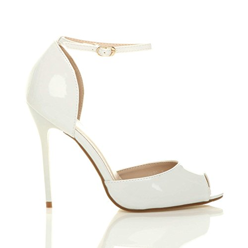Court High Ajvani Patent Toe Pumps Heel Size Peep Shoes White Women qqgwa