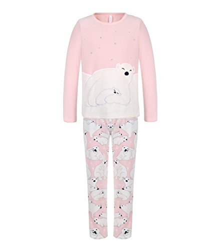 DOYOMODA Womens Sleepwear Polar Fleece Long Sleeve Lounge 3D Polar Bear Pajamas Set (X-Large)