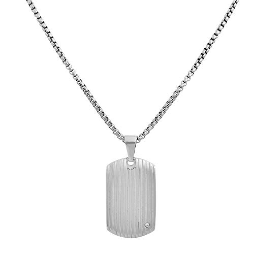 Geoffrey Beene Stainless Steel Men's Dog Tag Necklace with Cubic Zirconia Stone, Silver