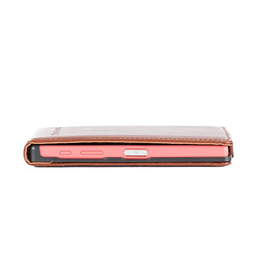 Snakehive® Sony Xperia Z5 Compact Cuero Laminado Funda volteable para Sony Xperia Z5 Compact (Color Negro) Tostado