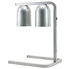 Winco EHL-2C, 120V Electric Free Standing Comercial Heat Lamp with Two 250 W Bulbs, Food Warmer, Aluminum Warming Lamp, Silver,