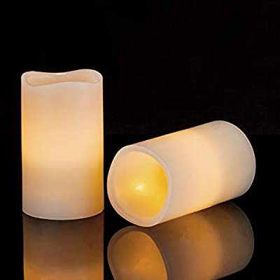 """Aku Tonpa 3""""x5"""" Flameless Candles Battery Operated Pillar Real Wax Flickering Electric LED Candle Gift Set with Remote Control Cycling 24 Hours Timer"""
